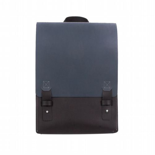 Recycled Leather - London Backpack - Petrol & Black